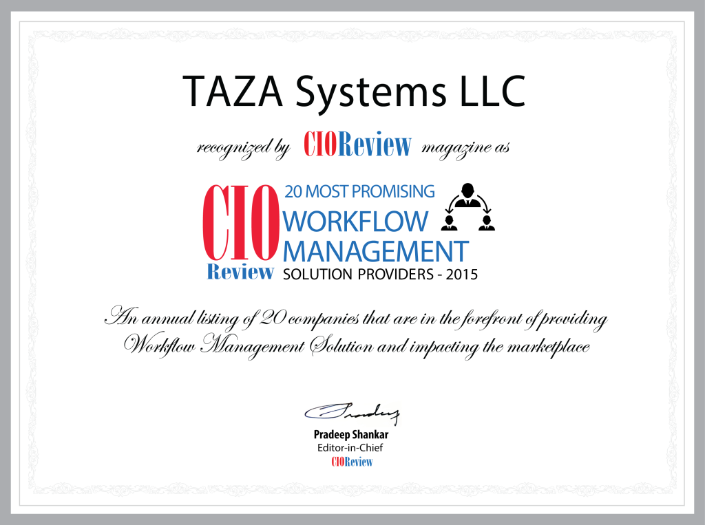 TAZA Systems CIO Review Award